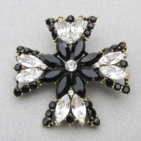 BIG Magnificent Signed WEISS Vintage Black & Crystal Rhinestone Maltese Cross Pin