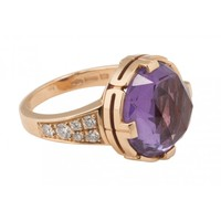 Bulgari 18k Rose Gold Amethyst and Diamond Parentesi Ring-Sz. 51