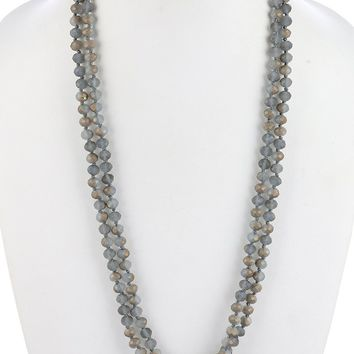 Metallic Natural Stone Extra Long Bead Necklace