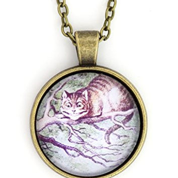 Cheshire Cat Necklace Antique Gold Tone NV58 Alice in Wonderland Art Print Pendant Fashion Jewelry