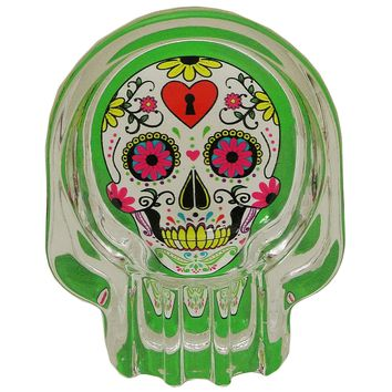 Glass Ashtray Sugar Skull Green with White Skull and Heart Keyhole