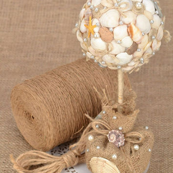 Topiary seashell decoration Beach decor Rustic wedding Beach wedding decor Beach house decor Burlap eco friendly material
