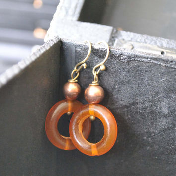 Copper Horn Hoop Earrings, Stone Bead Dangle Earrings