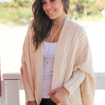 Cream Oversized Knit Cardigan
