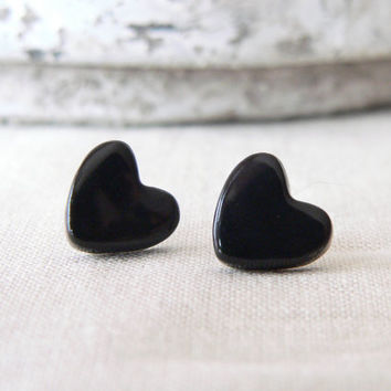 Black heart earrings, ceramic stud, black post earrings, Valentines gift