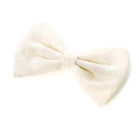 Ivory Lace Overlay Bow Hair Clip
