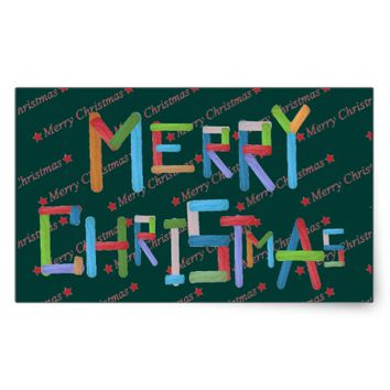 Merry Christmas Rectangular Sticker