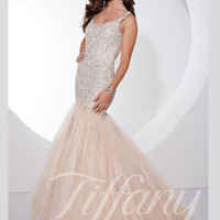 V-neck Beaded Lace And Tulle Mermaid Prom Dress Tiffany Designs 16072