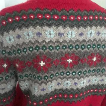 Vintage Ralph Lauren Zip Front Red Wool Fair Isle Cardigan Sweater, Size Medium Petite
