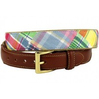 Yacht Rock Special Leather Tab Belt in Pastel Madras by Country Club Prep
