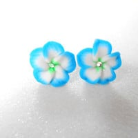 Blue / White Polymer Clay Flower Earrings - Plumeria Post Earring with Swarovski Crystal - Hawaiian Jewelry
