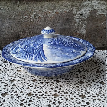 Covered Tureen, Liberty Blue, Staffordshire, Ironstone, English, Serving