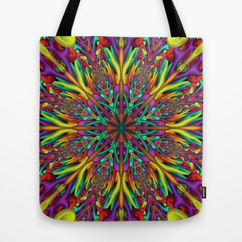 Crazy colors 3D mandala Tote Bag by Natalia Bykova