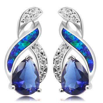 Silver Plated Earrings Fire Blue White Opal With Sapphire Tanzanite Topaz Design