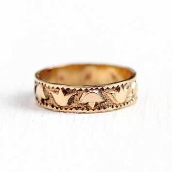 Victorian Baby Band - Antique Rosy Yellow Gold Filled Ring - Size 2 Vintage Leaf Motif Cigar Band Style Dainty Wide GF Midi Jewelry