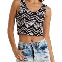 Black Combo Strappy Back Floral Chevron Crop Top by Charlotte Russe