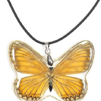 Butterfly Pendant Necklace Faux Leather NN43 Fashion Jewelry