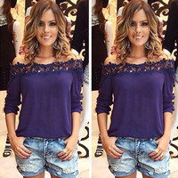 Chiffon Lace Stitching T-Shirt in Blue