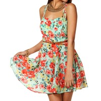 Sale-criss Cross Floral Short Dress