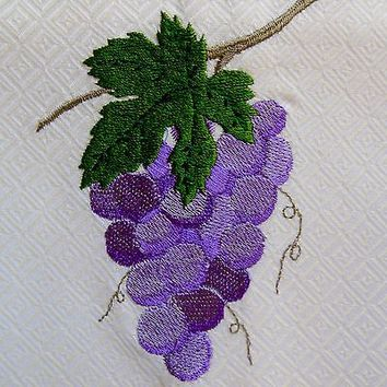 Grapes Jan de Luz Carmel By The Sea Embroidered Wine Kitchen Towel  Made USA