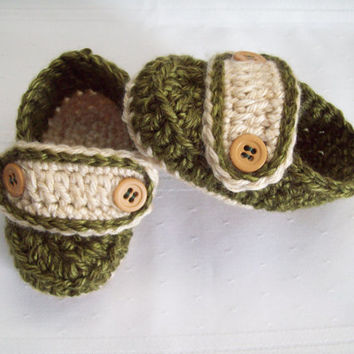 Crochet Baby Loafers, Green and Tan,  Baby Boy Loafers, 6 to 9 Months