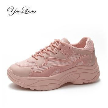 Women's Chunky Sneakers Fashion Basket Women Platform Shoes Lace Up Pink Female Trainers Dad Shoes Bambas Plataforma Mujer