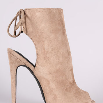 Suede Peep Toe Back Lace Up Stiletto Mule Booties