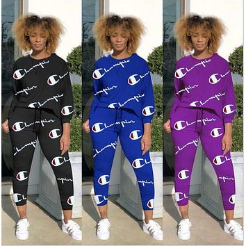 Champion Trending Women Stylish Letter Print Long Sleeve Sports Top Pants Two Piece Set