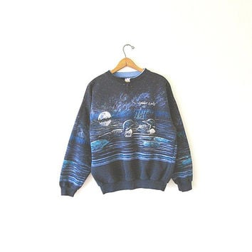 Vintage 80's Moonlit LOONS Retro SPIDER LAKE Wrap Around Wildlife Outdoor Pullover Sweatshirt Sz L
