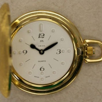 LS&S 71010G Montiel Gold Plate Braille Pocket Watch