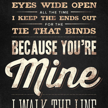 Custom Song Lyrics, Johnny Cash, Walk the Line, Canvas Wrap — Rustic Vintage Style Typography Art, Premium Canvas