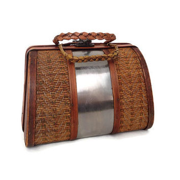 Vintage Purse - Rattan and Silver - Polished Aluminum - Wood - Woven Straw - Handles - Hard Body - Wood Interior - Retro Fashion