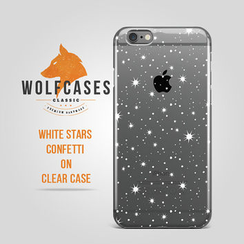 White Stars Confetti on Clear Ultra Thin transparent Protective Case Cover for iPhone 6 6s Samsung Galaxy S4 S5 S6 Note Lenovo HTC iPod 018