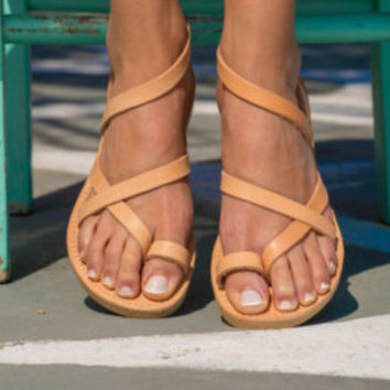 Sandals,Greek sandals,Ankle strap sandals,Leather sandals,Elegant sandals,Flat sandals,Women shoes,Triskelion,ANDROMEDA