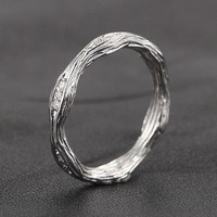 Pave Diamond Wedding Band Eternity Anniversary Ring 14K White Gold Art Deco Hand Crafted Twig