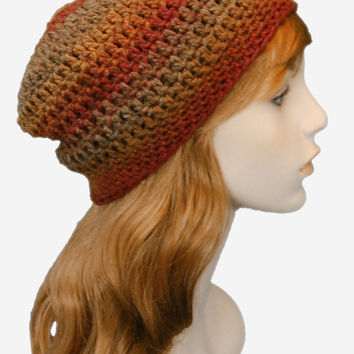 Autumn Ombre Weekender Slouchy Beanie Hat, Unisex Warm Tones Winter Hat, Brown and Beige Natural Winter Hat