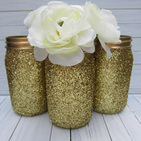 Glitter Mason Jar, Flower Vase, Wedding Decor, Baby Shower Decor, Home Decor, Office Decor, Quart Size