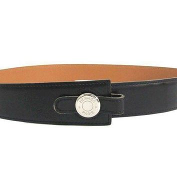 MDIG1O Hermes Sellier Women's Leather Belt Black,Beige 70 BF308983