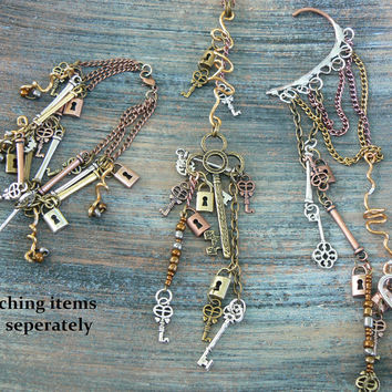 steampunk ear cuff wrap copper mixed metals keys lock charms in gypsy boho hippie gothic and fantasy style