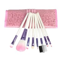 Home Kitty Makeup Brushes Set 8PCS Eyeshadow Lip Brush Set Multifunctional Premium Wood Handle Professional Foundation Blending Blush Cosmetics Eyeliner Face Powder Makeup Brush Kit With Pink Case Bag