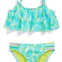Girl's Roxy Palm Print Two-Piece Flutter Swimsuit