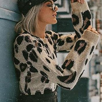 New Brown Leopard Pattern Long Sleeve Oversized Casual Pullover Sweater