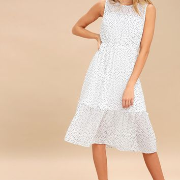 Afternoon Stroll White Polka Dot Midi Dress