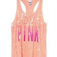 NEW Victoria's Secret VS PINK Bling Racerback Tank Top Peach Size M