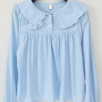 Ruffles Doll Collar Buttons Blue Blouse