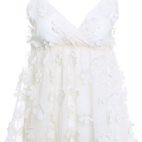 ROMWE | Stereo Flower Cream Lace Dress, The Latest Street Fashion