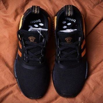 CHEN1ER Versace x Adidas NMD_R1 Black/Gold Sneakers Trending Running Sports Shoes