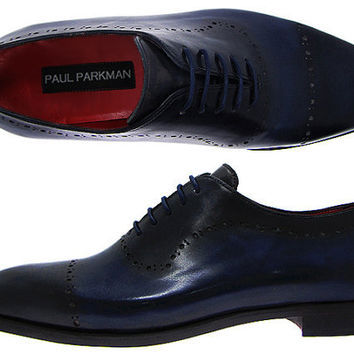 Paul Parkman Men's Navy Hand Burnished Brogue Oxford Shoes - Leather Upper & Leather Sole