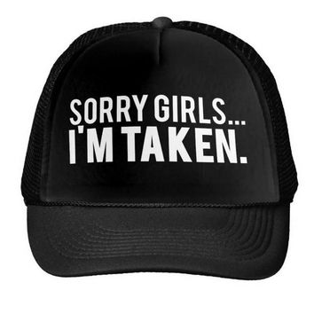 Sorry Girls I'm Taken Print Baseball Cap Trucker Hat For Men Mesh Adjustable Size