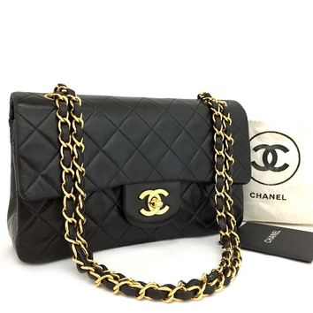 CHANEL Double Flap 23 Quilted CC Logo Lambskin w/Chain Shoulder Bag Black/o224